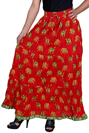 8d240ea5e Vani Women's Cotton Ethnic Skirt (FrillElephantRed1, Red): Amazon.in ...