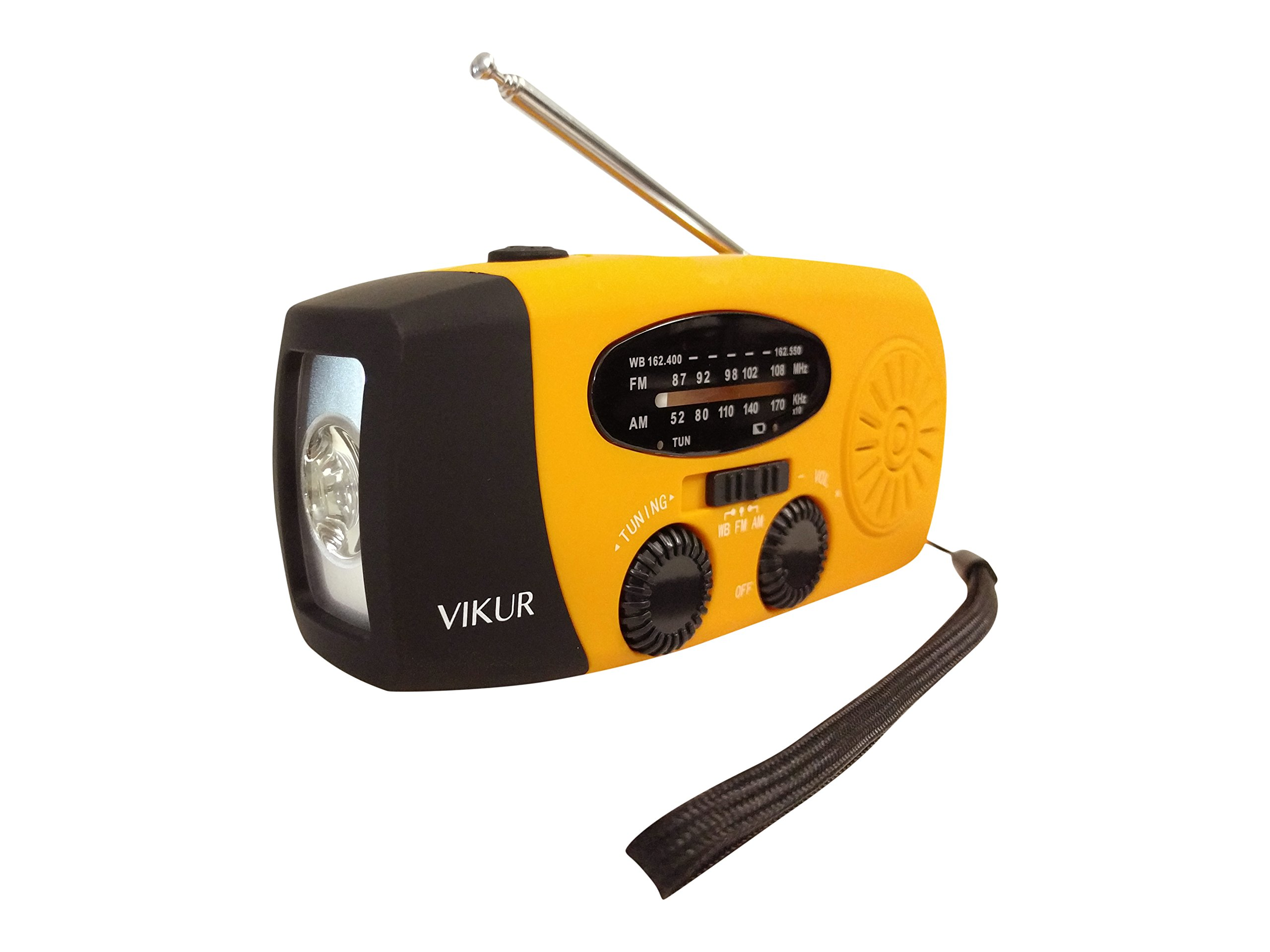 Solar Hand Crank Emergency LED Flashlight (yellow)