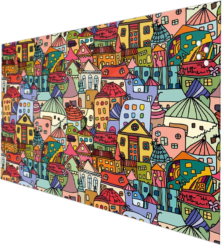 Fliesenspiegel magnetisch und beschreibbar banjado Glas Nischenr/ückwand f/ür K/üche 50cm x 50cm Spritzschutz selbstklebend ohne Bohren K/üchenr/ückwand mit Motiv Funky Town
