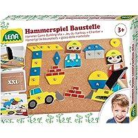 Lena 65828 - Hammerspiel Baustelle, Nagelspiel mit 64 Teilen in 7 Formen und 8 Baustellen Teilen, Grundplatte aus Kork, ca. 28 x 19,5 cm, Hammer und Nägel, Hämmerchenspiel für Kinder ab 3 Jahre