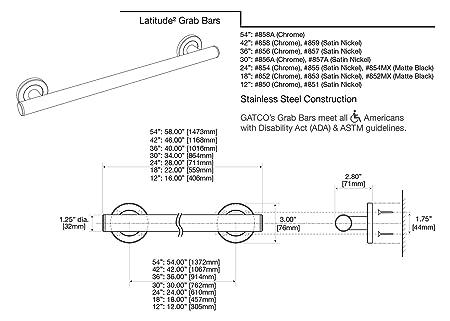 "Gatco 852 Chrome Latitude� 18/"" Grab Bar"