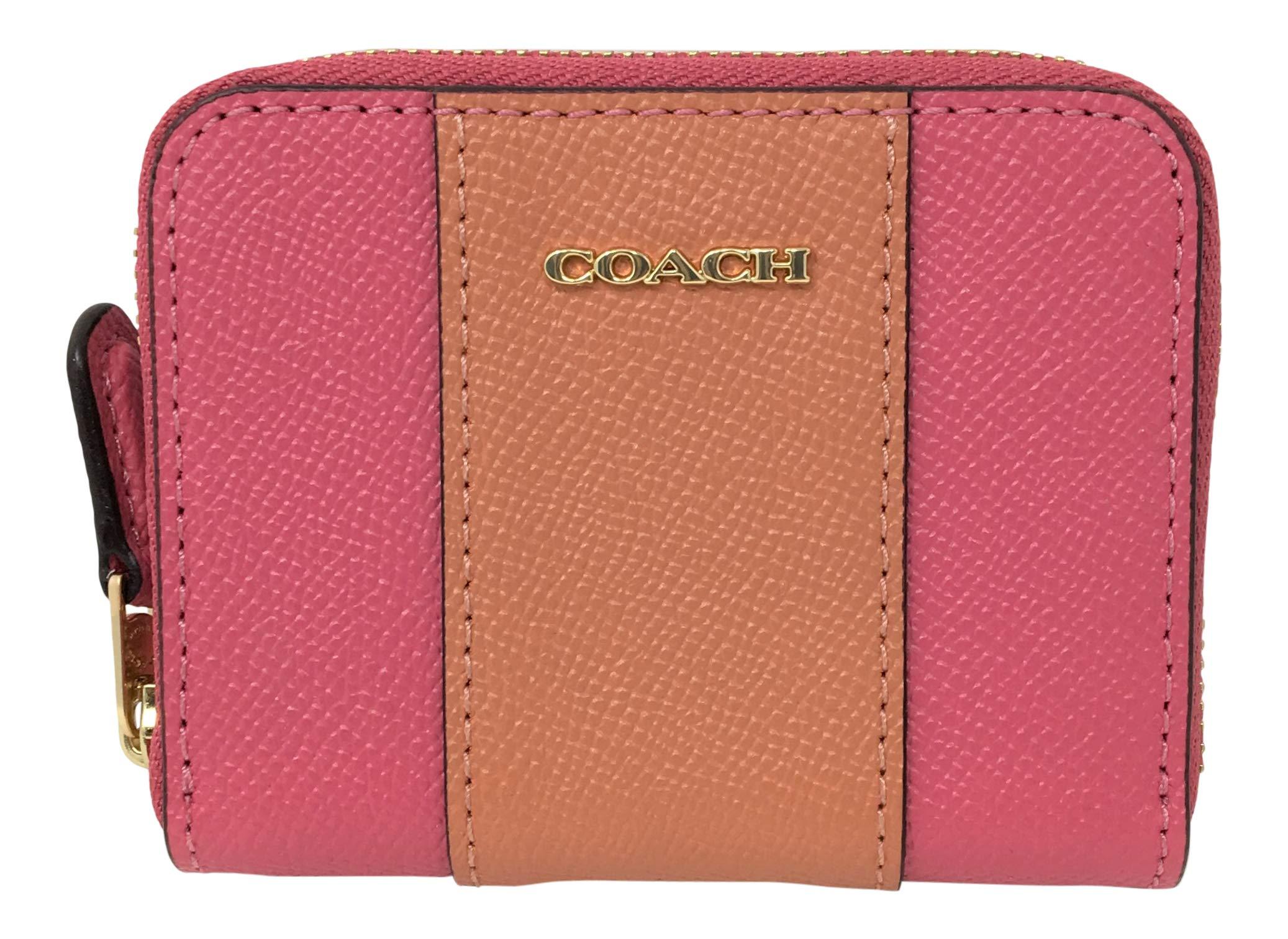 Coach Mini Zip Around Card Case in Crossgrain Leather Pink Ruby F68623