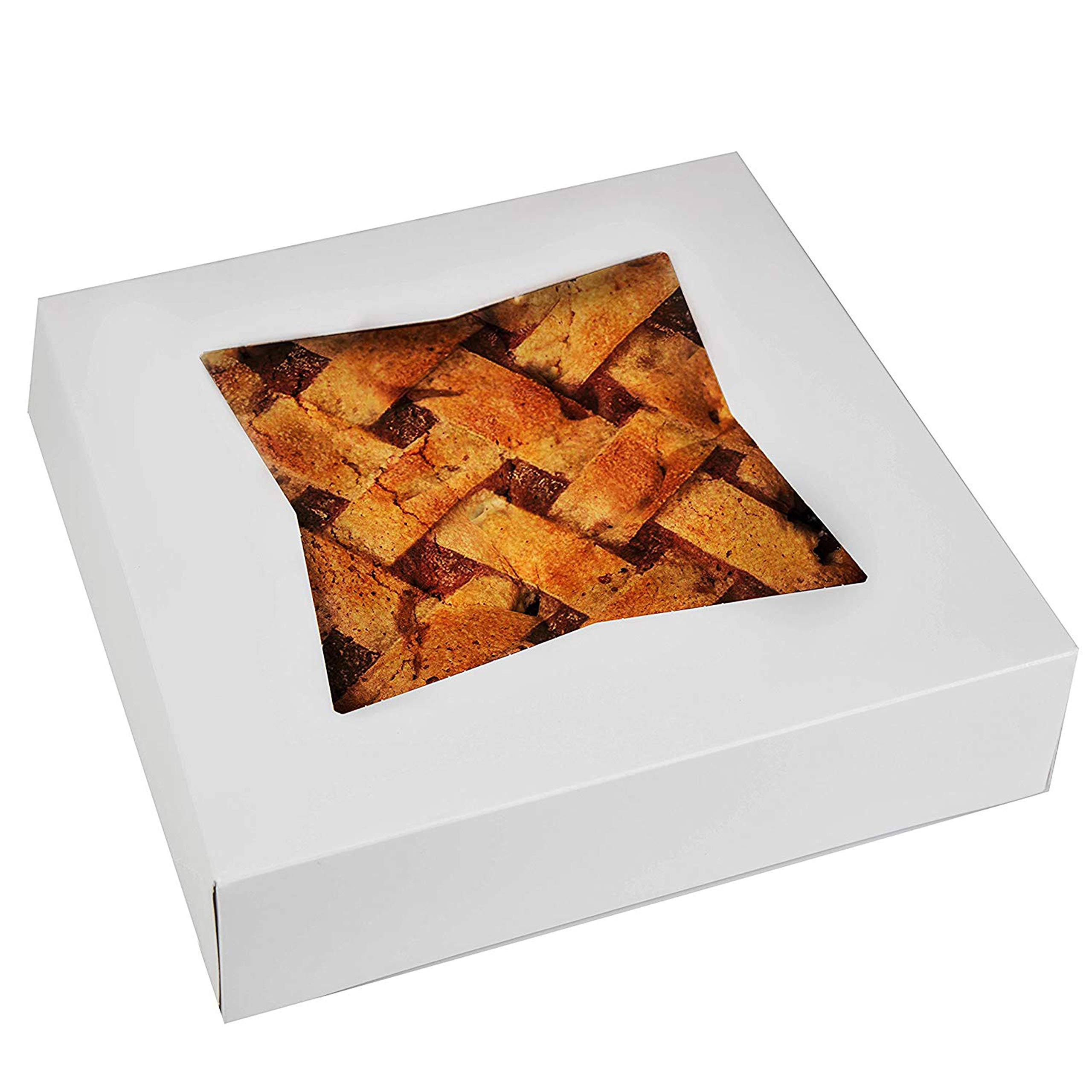 Cake Boxes - Set of 15 Pie Window Boxes 10 Inches by 10 Inches by 2 1/2 Inches White Paperboard Bakery Box by Upper Midland Products