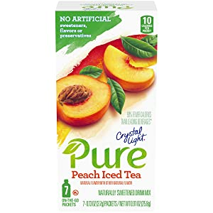 Crystal Light Pure Peach Iced Tea Drink Mix (84 On-the-Go Packets, 12 Packs of 7)