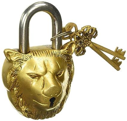 Purpledip Brass Padlock 'Lion King': Antique Design Door Lock (10004)