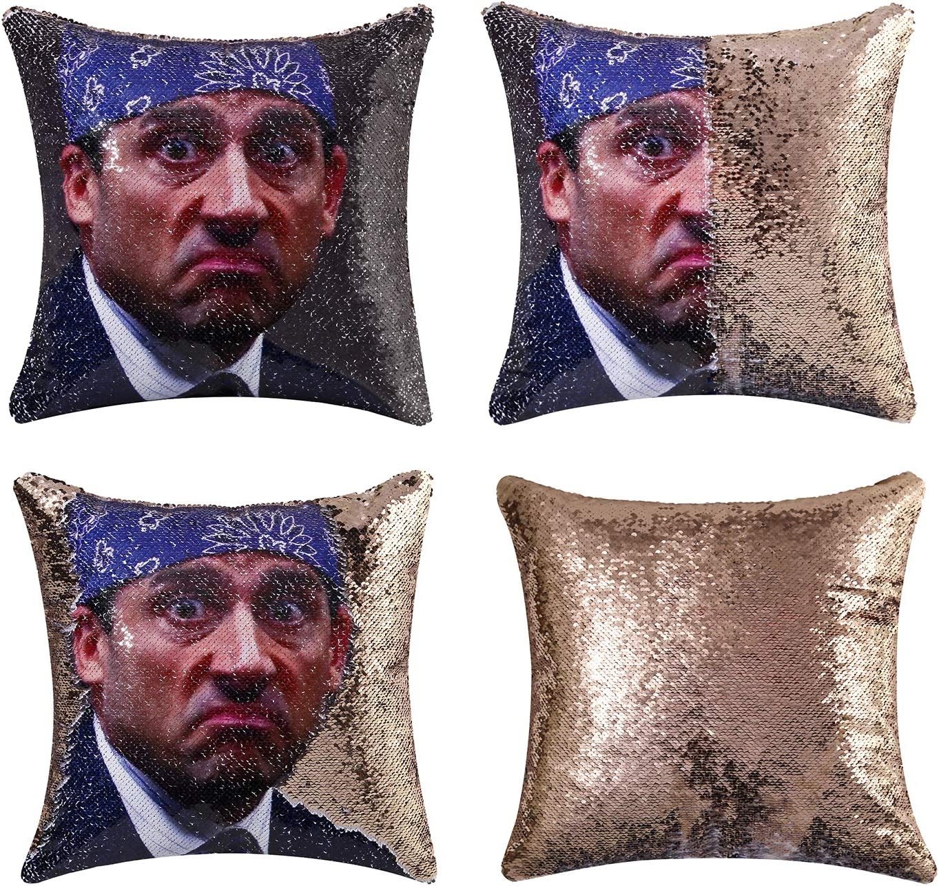 cygnus The Office Michael Scott Quote Humor Gifts Sequin Mermaid Pillow Cover That Color Change Cushion Cover 16x16 inches (Type 2-Champagne equin)