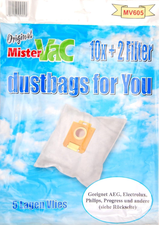 mistervac MV 605 5-Ply Fleece Vacuum Cleaner Bag (Pack of 30 Bags and 6 Filters) Suitable for AEG Elektrolux Eurelem Hanseatic Hugin Miostar Philips Privileg Progress Satrap Tornado Volta Wertheim Zanussi