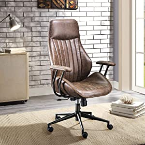 XIZZI Ergonomic Chair, Modern Computer Desk Chair,High Back Suede Leather Office Chair with Lumbar Support for Executive or Home Office (Brownness)