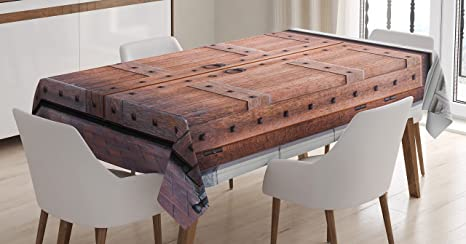 Amazon Com Ambesonne Rustic Tablecloth Antique French Wooden Door Old Medieval Historical Entrance Middle Age Design Dining Room Kitchen Rectangular Table Cover 52 X 70 Brown And Cream Home