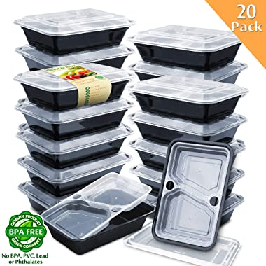Enther 36oz Meal Prep Containers 20 Pack 3 Compartment with Removable Insert Tray 2-Tier Food Storage Bento Box with LidsBPA Free Reusable Lunch Box Stackable/Microwave/Dishwasher/Freezer Safe Black