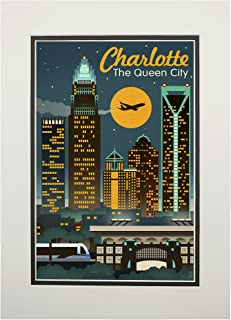 product image for Charlotte, North Carolina - Retro Skyline (11x14 Double-Matted Art Print, Wall Decor Ready to Frame)