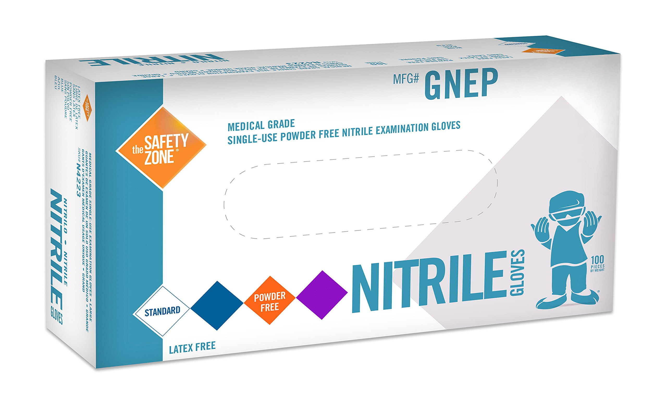 Black Nitrile Exam Gloves - Medical Grade, Disposable, Powder Free, Latex Rubber Free, Heavy Duty, Textured, Non Sterile, Work, Medical, Food Safe, Cleaning, Wholesale, Size Large (Case of 1000) by The Safety Zone (Image #2)