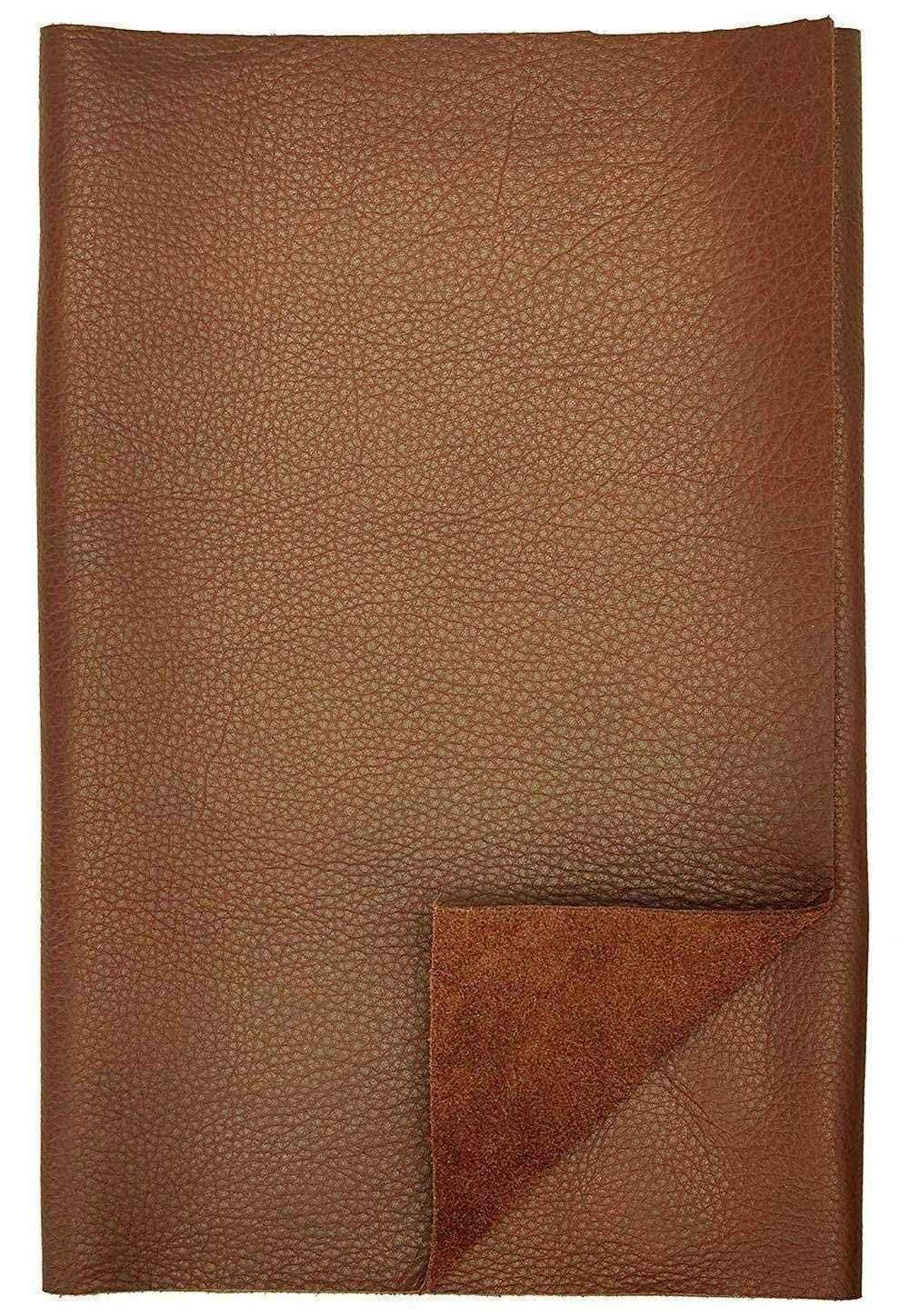 REED Leather HIDES - Cow Skins Various Colors & Sizes (12 X 24 Inches 2 Square Foot, Brown)