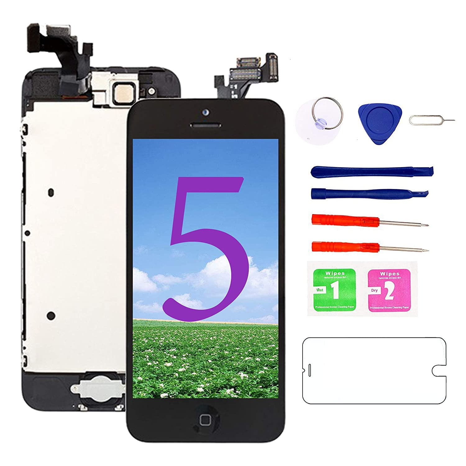 Nroech for iPhone 5C Screen Replacement Black with Home Button and Camera Full Assembly - 5C LCD Display Touch Digitizer - Repair Tools Kit and Tempered Glass Screen Protector