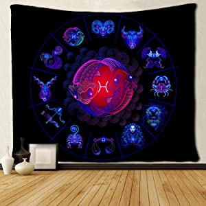 SARA NELL Tapestry Pisces Tapestries Hippie Art Wall Hanging Throw Tablecloth 50X60 Inches for Bedroom Living Room Dorm Room