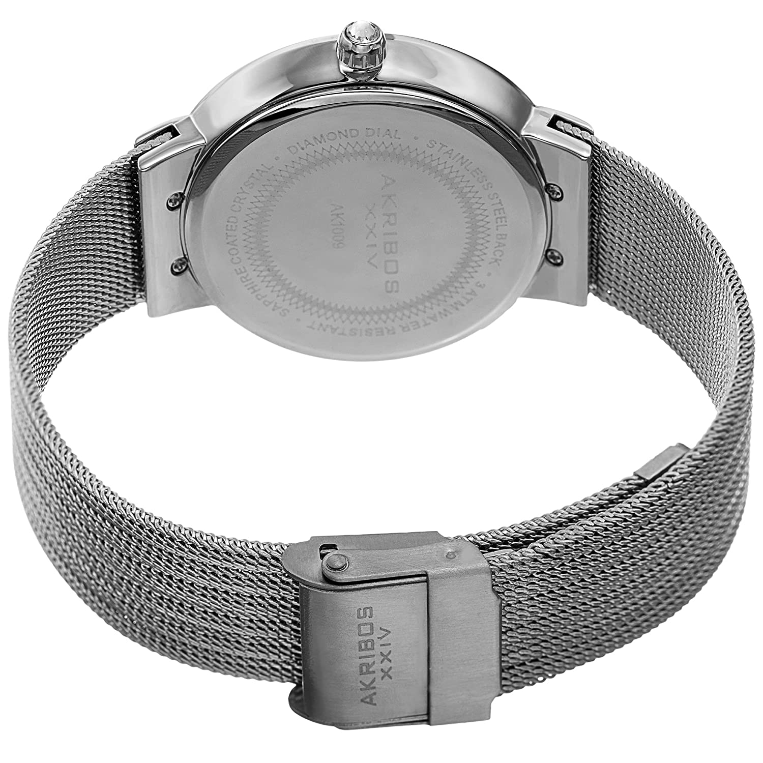 Amazon.com: Akribos XXIV Womens Quartz Diamond & Mother-of-Pearl Silver-Tone Fine Mesh Bracelet Watch - AK1009SS: Watches