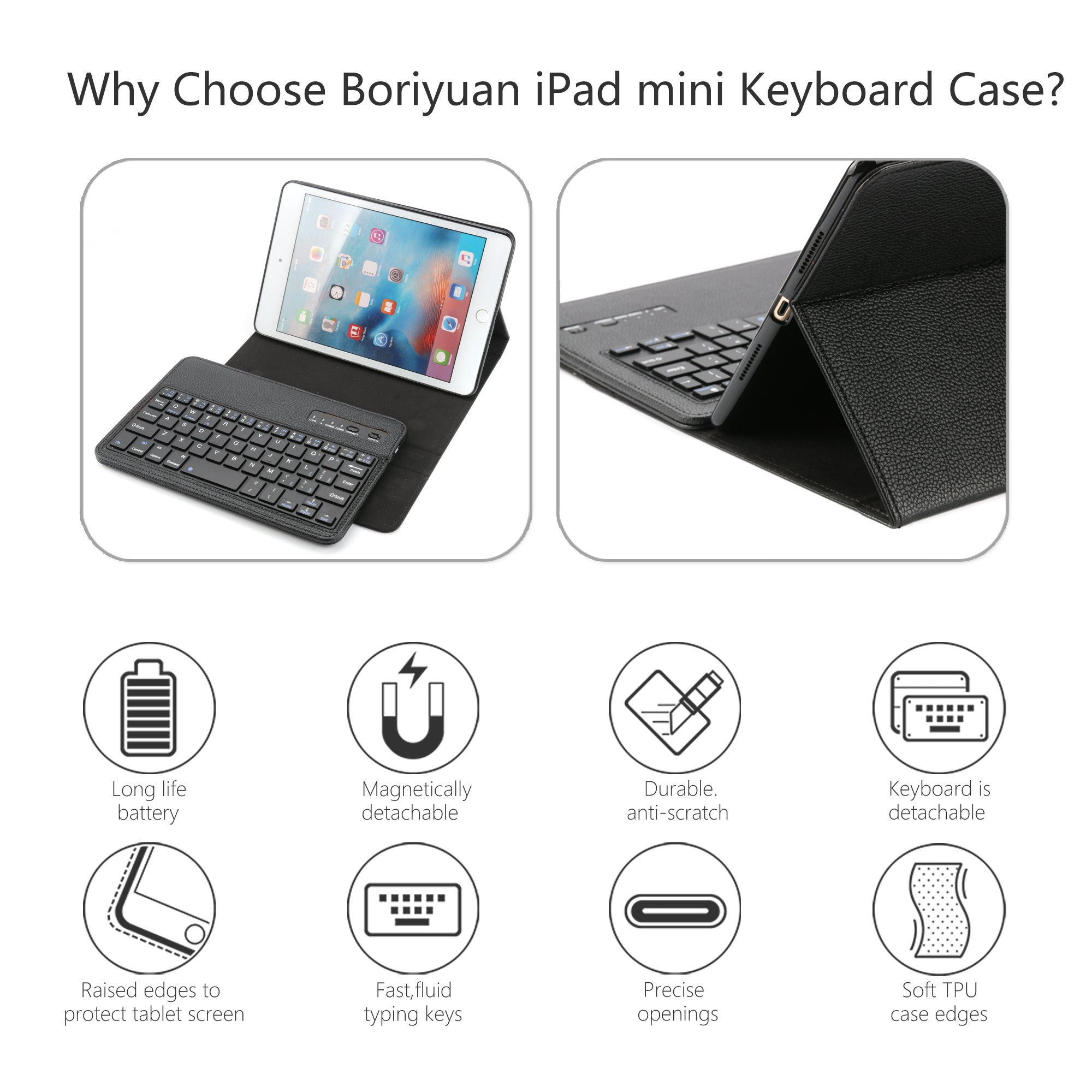 iPad Mini Keyboard Case,Boriyuan iPad Mini Smart Case Stand Folio Leather Cover with Detachable Wireless Bluetooth Keyboard and Screen Protector +Stylus for Apple iPad Mini 1/Mini 2/Mini 3 (Black) by Boriyuan (Image #2)