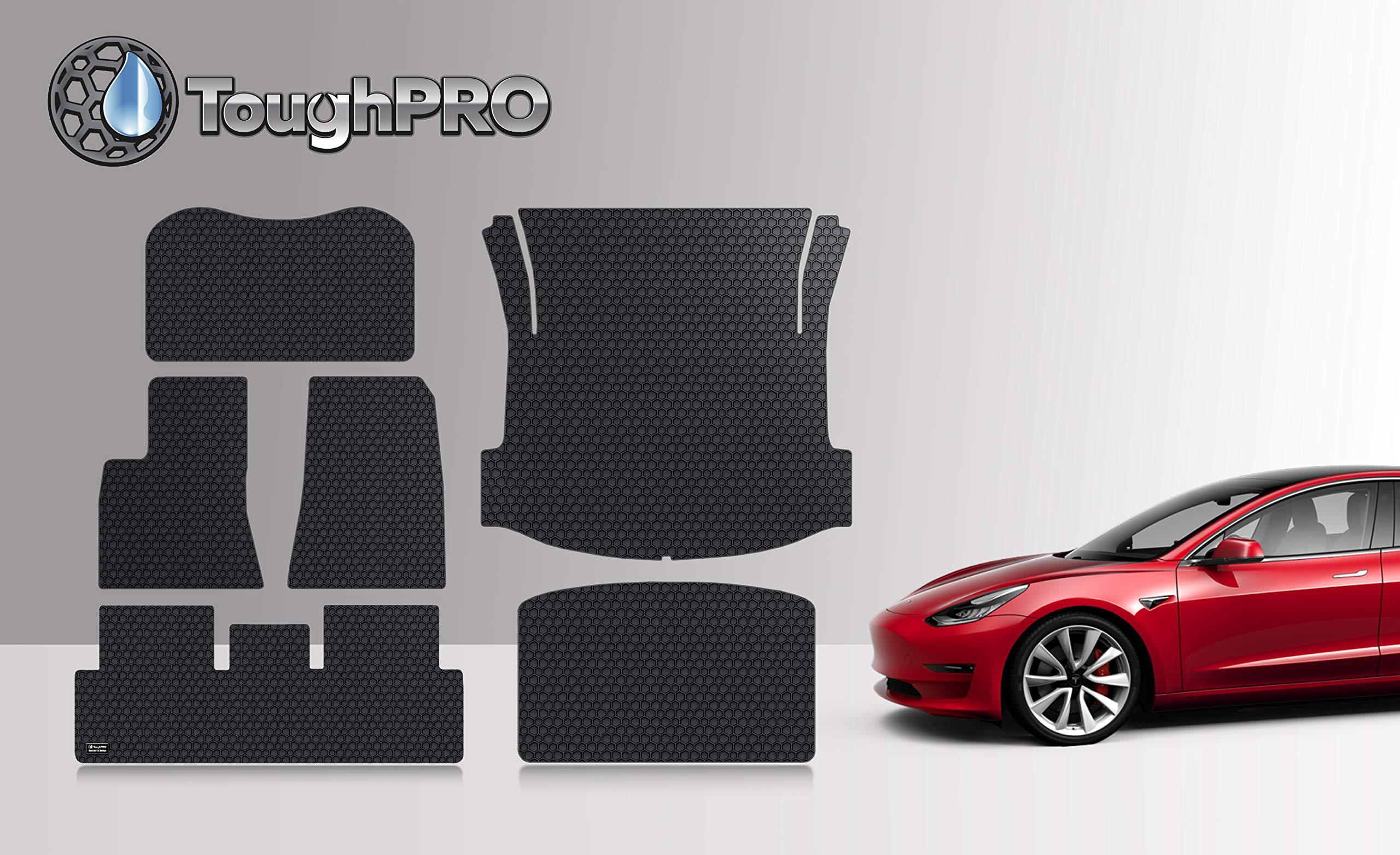 ToughPRO Tesla Model 3 Floor Mats Set - Frunk Mat - Trunk Mat- Storage Mat - All Weather - Heavy Duty - Black Rubber - (Made in The USA) - 2019 by ToughPRO (Image #1)