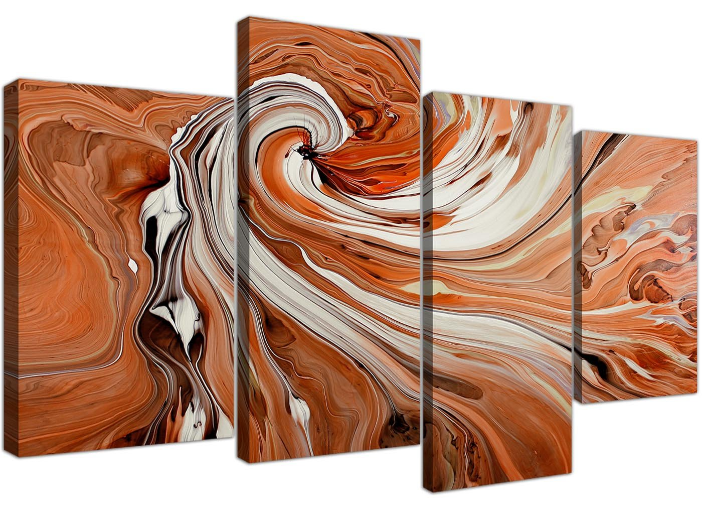 Groß Orange und Weiß Swirl – Abstrakt Leinwand Split 4 Panel – 130 cm breit – 4254