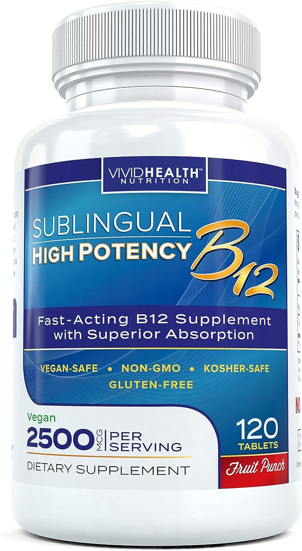 Vitaminas B12 de alta potencia - Sublingual B 12 suplemento de metilcobalamina | Forma más efectiva de B12 con absorción superior, gran sabor de punzón de fruta, 120 tabletas de punzón de fruta