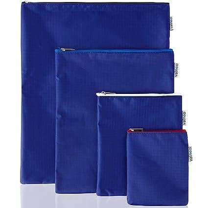 VALNEO set de 4 bolsas con cremallera en distintos tamaños, impermeables, color azul osuro - bolsa multipropósito, estuches organizadores, carteras ...