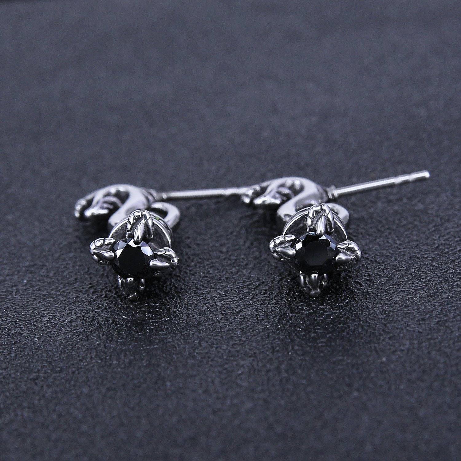 Vintage Sword Skull Rose Drop Dangle Stud Earrings 316L Surgical Steel Punk Cartilage Earrings Mens Women (Dragon Style) by PiercingCool (Image #5)