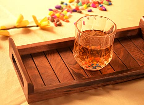 Pleasing Hashcart Indian Sheesham Wood Tray For Restaurants Dinner Table Interior Design Ideas Gentotryabchikinfo