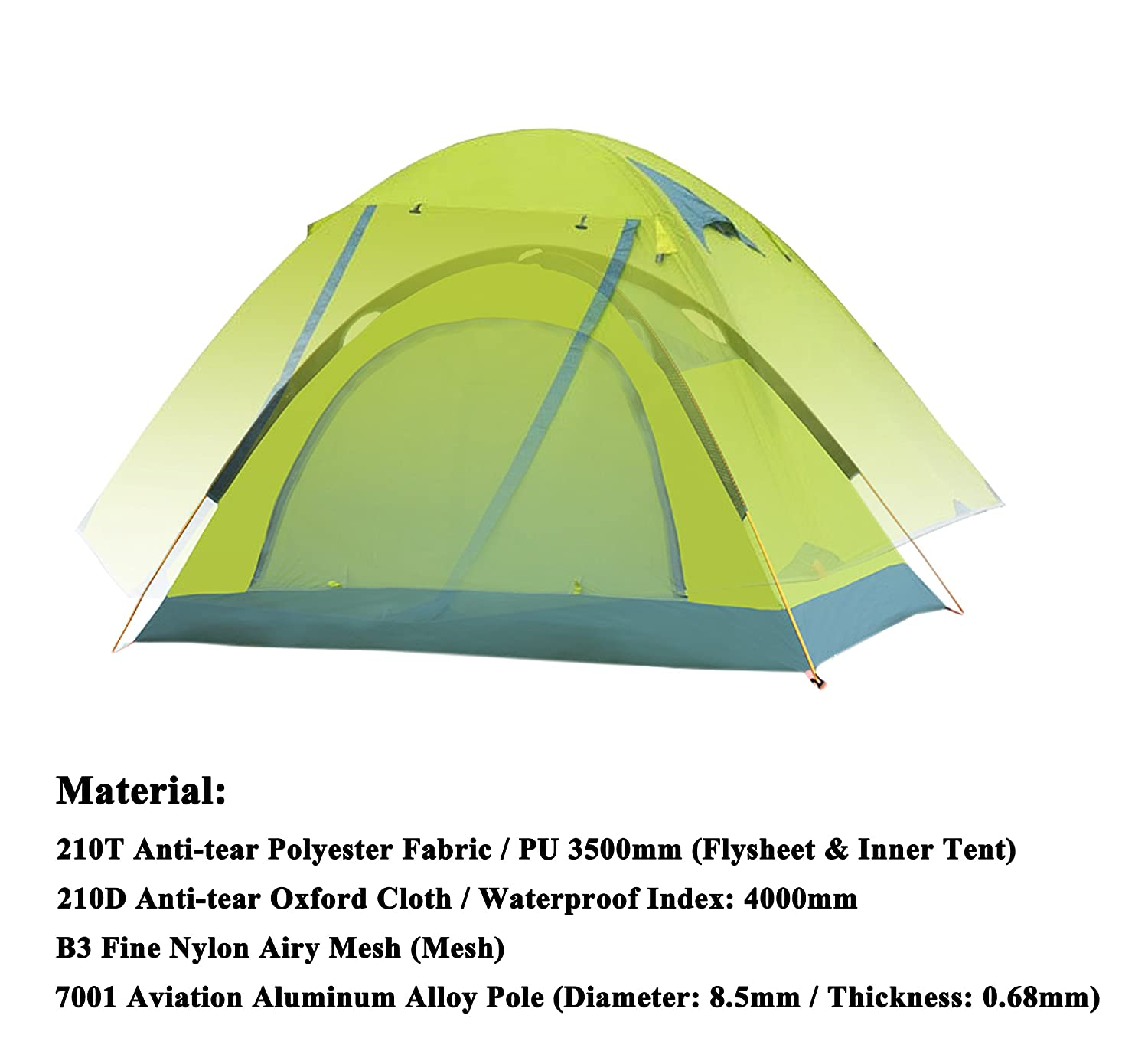 Amazon.com  WoneNice Professional C&ing Tent 3-4 season 2-person Double Layer Backpacking Dome Tent (Green - 4 season tent)  Sports u0026 Outdoors  sc 1 st  Amazon.com & Amazon.com : WoneNice Professional Camping Tent 3-4 season 2 ...