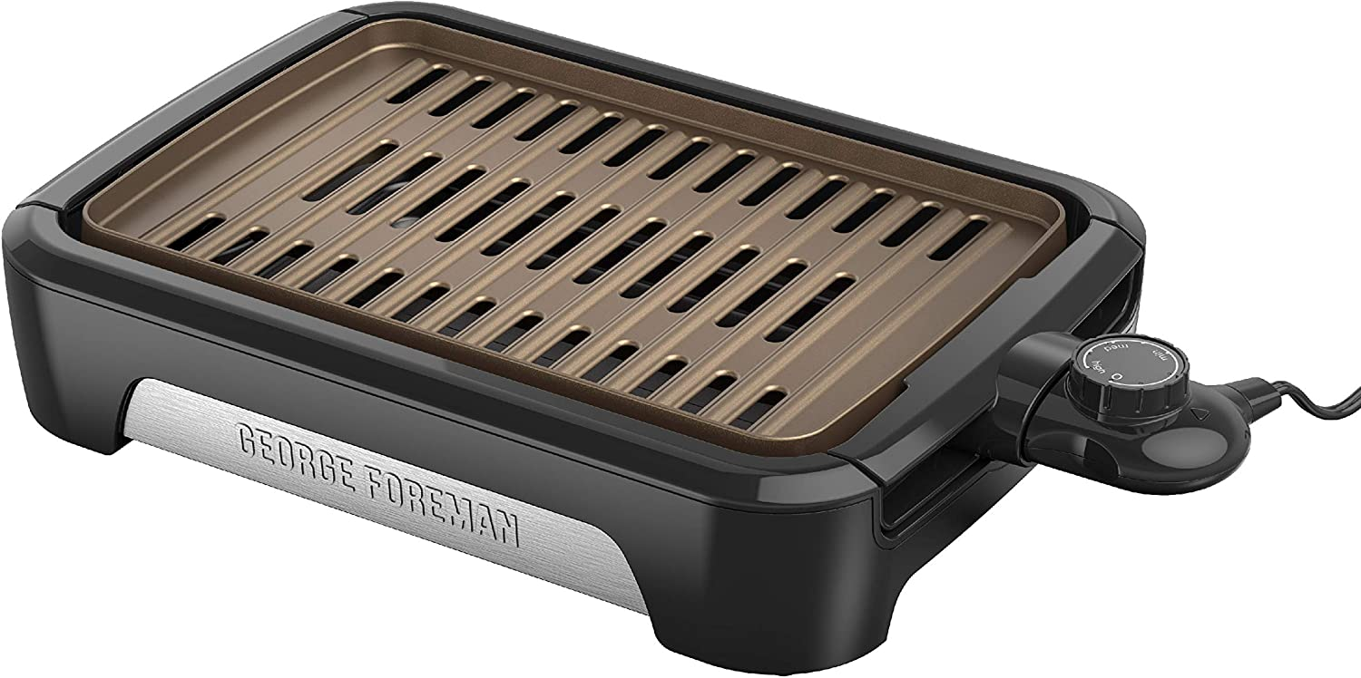George Foreman Family Size GFS0090SB Open Grate Smokeless Grill, Black, 90 Sq