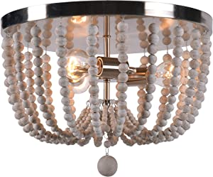 Kenroy Home Casual 3 Light Wood Bead Flush Mount ,11 Inch Height, 16 Inch Diameter with Brushed Steel Finish w/Distressed White Wood Beads