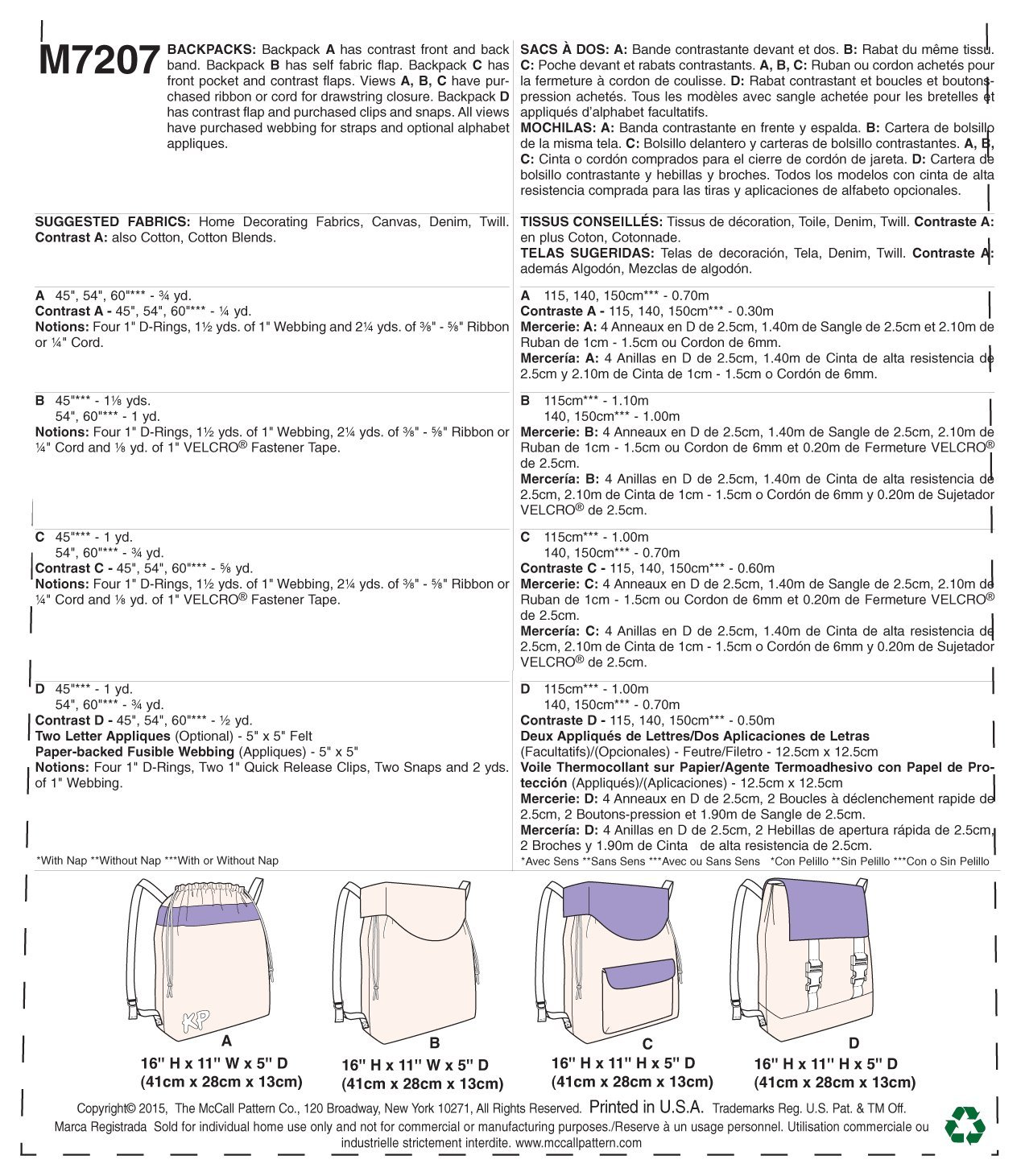 Amazon.com: McCalls Patterns M7207 Backpacks Sewing Template, One Size Only: Arts, Crafts & Sewing