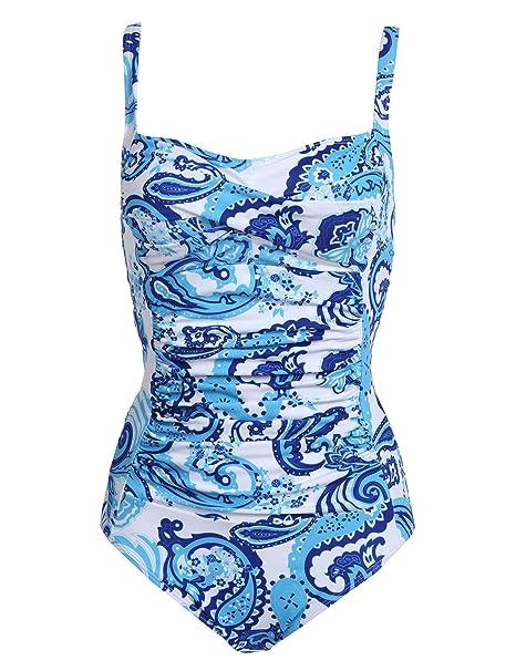 939f644ab9d1e Ekouaer Bathing Wear for Womens One Piece Swimwear Suit(Blue Pattern,  X-Small