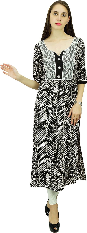 Phagun Polyester Kurta Women Chevron Pattern Ethnic Kurti Designer Tunic Dress