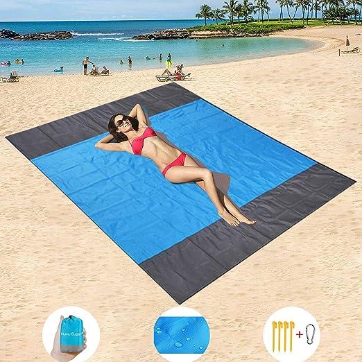 HISAYSY Alfombra de Playa, 210 x 200 cm XXL Manta de Picnic de Bolsillo Impermeable Extra Grande, a Prueba de Arena & Lavable con 4 Estacas (Azul 2): Amazon.es: Jardín