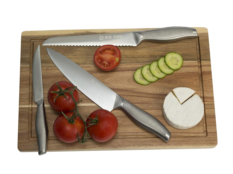 Juego de Cuchillos de Chef de 9 Piezas de Ross Henery, Cuchillos de Cocina de Estilo japonés, Incluye afilador de Acero en Funda de Lona