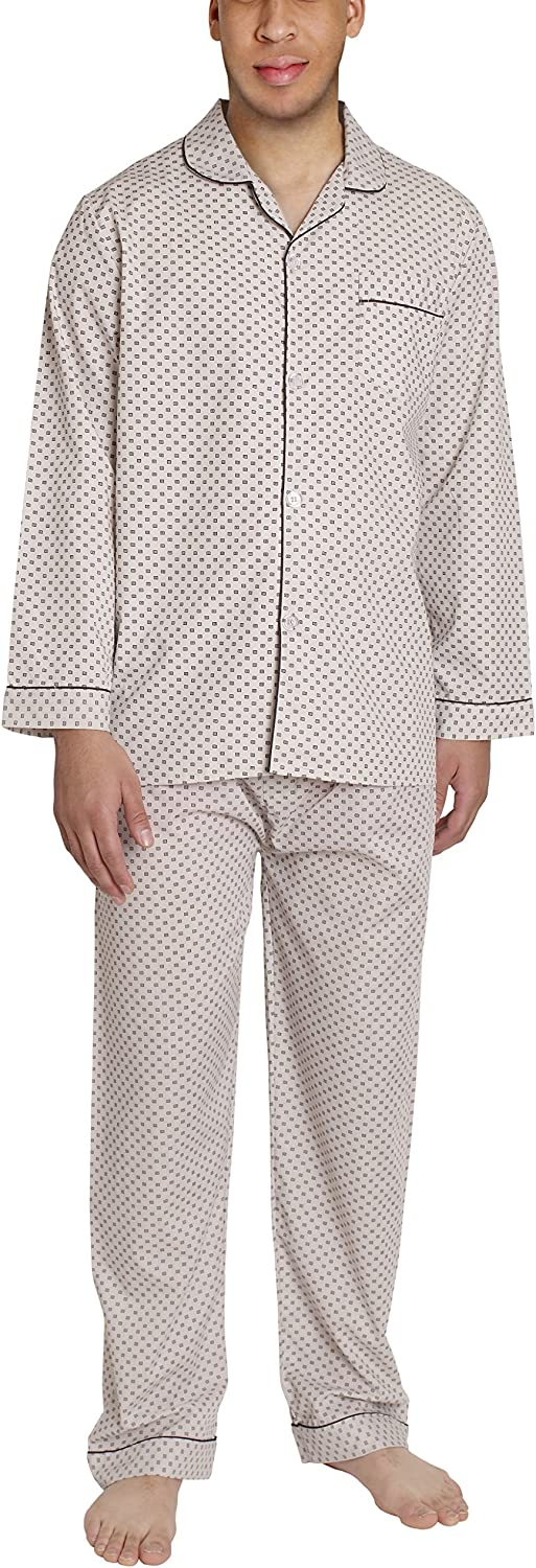 Sportoli Men Adult Woven Long Button Down Pants Sleepwear Pajamas Pjs Lounge Set