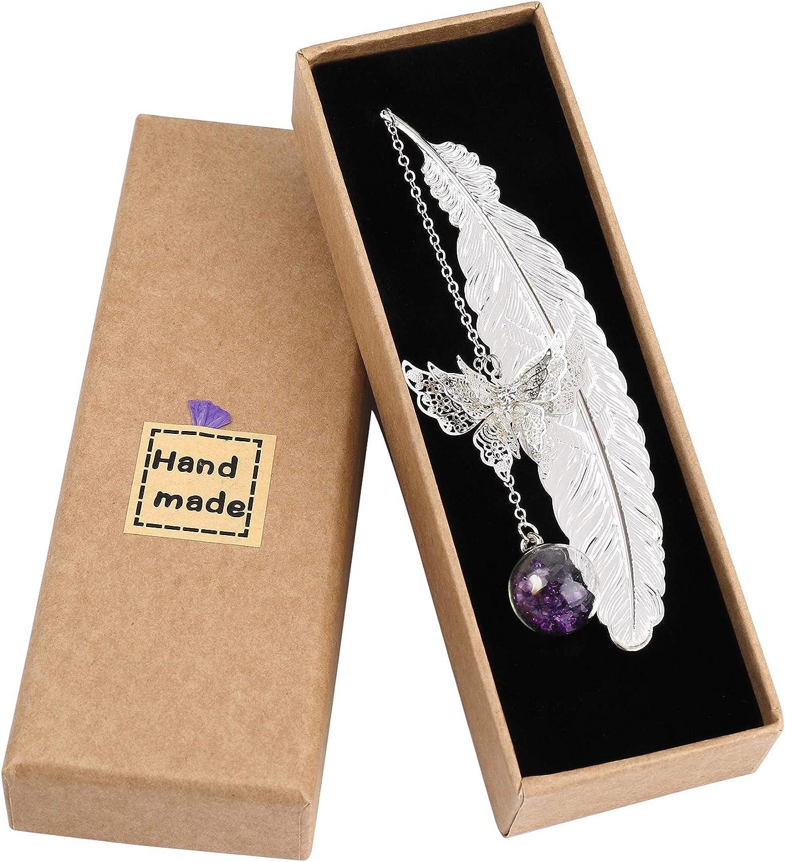 Marcapáginas de Plumas de Metal, Diseño Creativo Elegante con 3D Mariposa y Perlas de Vidrio Colgante de Flor Seca, Ideal Regalo para Adultos, Niños y Estudiantes