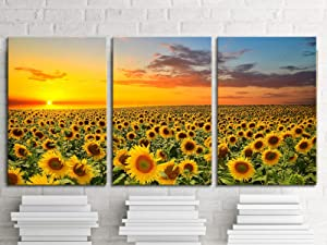 KLVOS Sunflower Picture Yellow Flower Wall Decor Set of 3 Sunset Landscape Giclee Print Canvas for Wall Modern Home Living Room Office Girl Room Decoration Stretched Ready to Hang 16x24inchx3 Panel