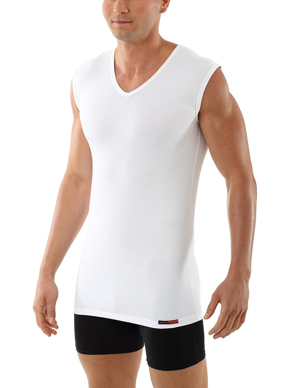 Albert Kreuz V-Unterhemd Business Herrenunterhemd aus Stretch-Baumwolle ohne Arm weiß 101100-BE