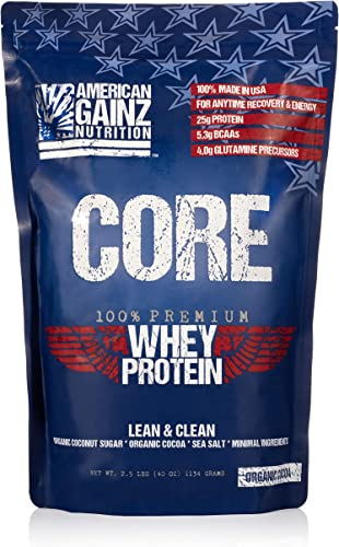 Core – 100 American Made 2.5 lbs of Premium Whey Protein from Idaho Farms Organic Cocoa Organic Coconut Sugar 5.3 Grams BCAAs No Fillers – Leanest Cleanest Grass Fed Cows