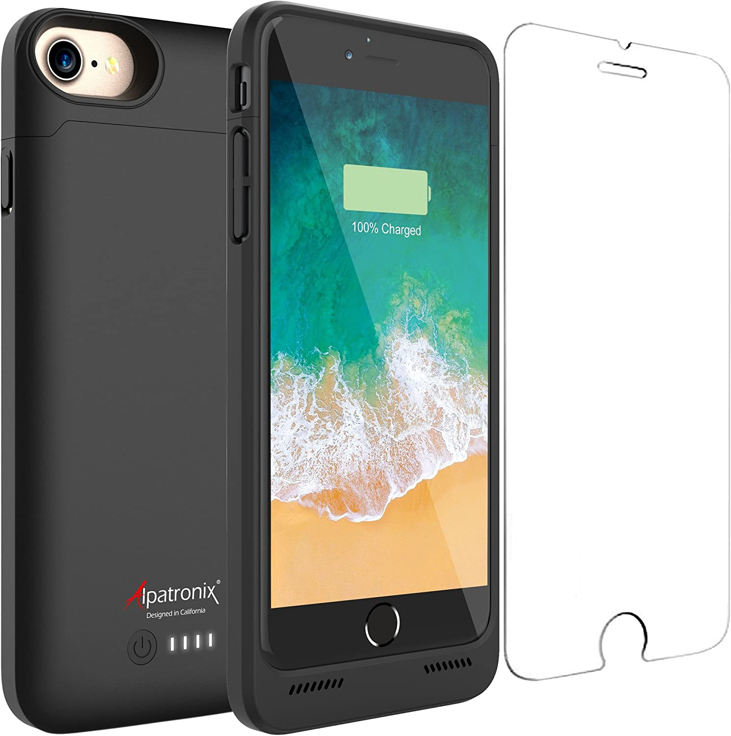 Alpatronix iPhone SE 2020/8/7 Battery Case, Slim Protective Extended Charging Case with UL-Tested Battery Compatible with New iPhone SE 2020, 8 & 7 (4.7 inch) BX180 – Black
