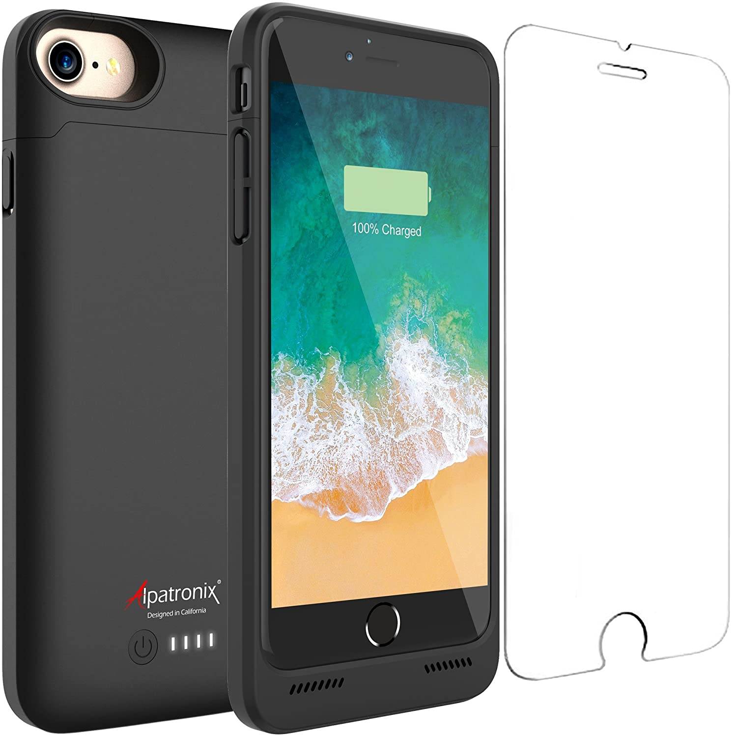 iPhone 7/8 Battery Case, Alpatronix BX180 4.7-inch 3200mAh Slim External Rechargeable Extended Protective Portable Charging Case & Charger Cover for iPhone 7 & iPhone 8 Juice Bank Power Pack - Black