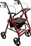 Roscoe Medical DLXTRL-BG Deluxe Transport Rollator with Padded Seat, Burgundy