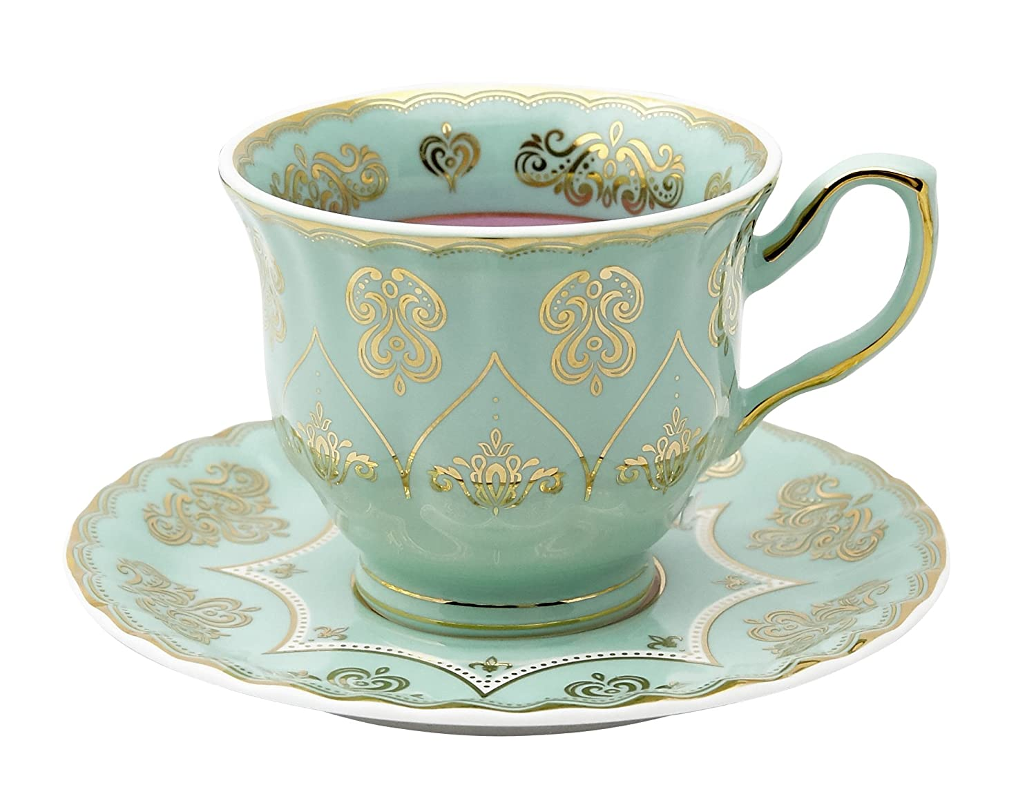 Pretty Little Teacups Cup and Saucer Set Green and Purple in Gift Box