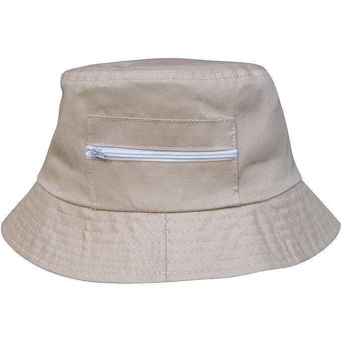 Hombre Verano Redondo Solar Sombrero Playa con cremallera Bolsos Bolsillos  - algodón 296df293159