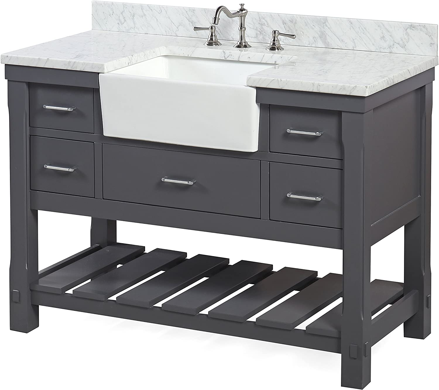 Charcoal Gray Cabinet With Soft Close Drawers And White Ceramic Farmhouse Apron Sink Charlotte 48 Inch Bathroom Vanity Includes A Carrara Marble Countertop Carrara Charcoal Gray Tools Home Improvement Bathroom Sink Vanities