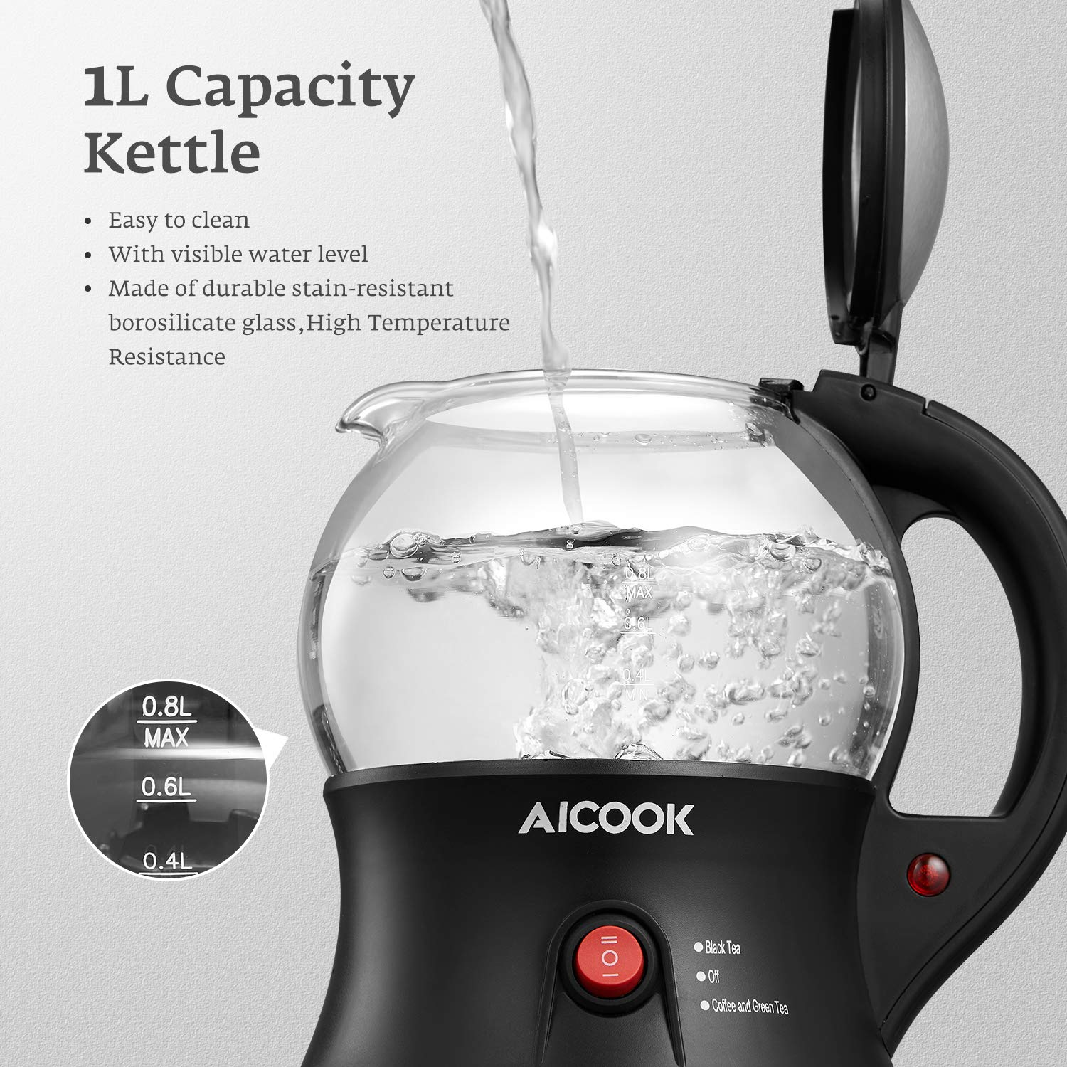 Electric Teapot, AICOOK Cordless Tea Pot Kettle with Removable Tea Infuser Set, Tea Maker For Blooming, Loose Leaf & Tea Bag and Flowering Tea, Keep Warm, Auto Shut-Off and Boil-Dry Protection, BPA Free by AICOOK (Image #4)
