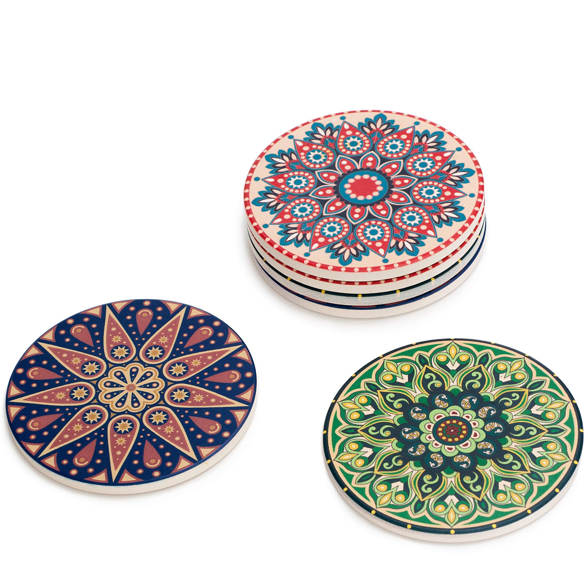 Ceramic Stone Mandala Style Absorbent Coasters For Drinks | 6 Pack with 3 Unique COLORFUL Designs | Cork Base Scratch Protection for your Drink | Indoor and Outdoor | 4.3 inch BRAND NEW