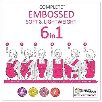 Amazon.com : LÍLLÉbaby The Complete Embossed SIX-Position 360° Ergonomic Baby & Child Carrier, Citrus - Cotton Baby Carrier, Ergonomic Multi-Position ...