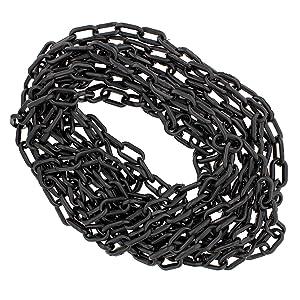 BISupply Plastic Chain Links Black Chain Link Plastic Chains Halloween Chain Crowd Control Chain Black 25ft x 6mm